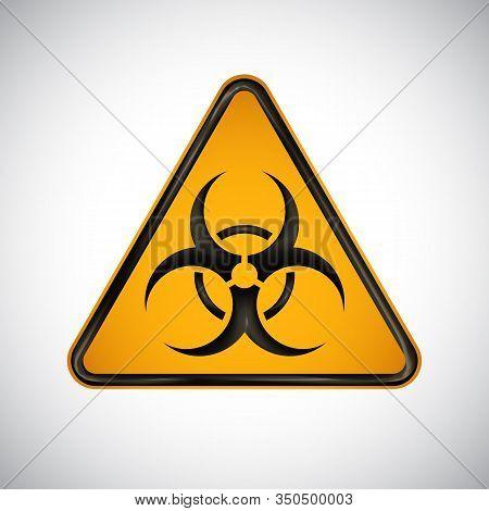 Caution Biological Hazard Sign. Black Orange Warning Bio Hazard Sign On White Background. Informatio