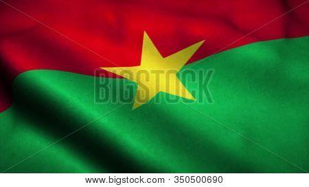 Burkina Faso Flag Waving In The Wind. National Flag Of Burkina Faso. Sign Of Burkina Faso. 3d Illust
