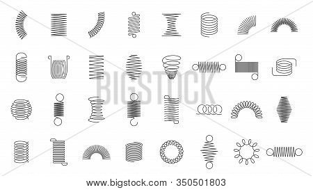 Spring Coils. Metal Spiral Spring, Car Motor Coil Swirls Silhouette, Wire Springs, Metallic Flexible