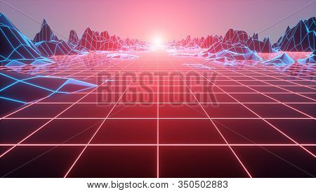 Abstract Futuristic Grid Landscape 1980s Style. 80s Retro Sci-fi Background. 3d Illustration.