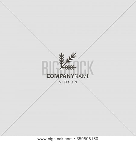 Black And White Simple Vector Geometric Line Art Iconic Logo Of A Coniferous Branch