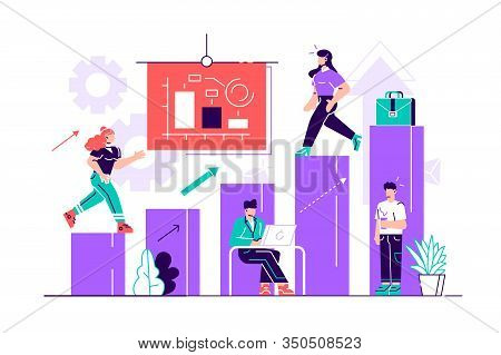 Illustration Of Business, Office Workers Study Infographics On A Graph From The Columns, Analyze The