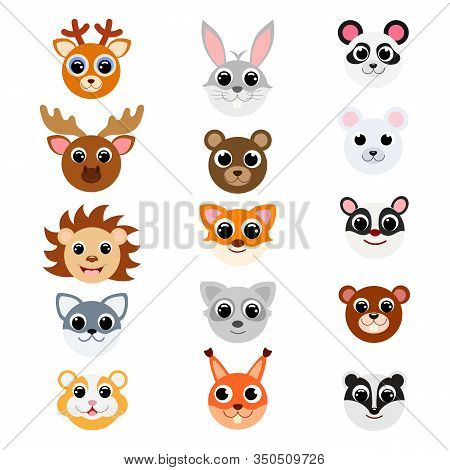 Funny Cute Forest Animal Heads. Cartoon Characters. Flat Vector Stock Illustration On White Backgrou