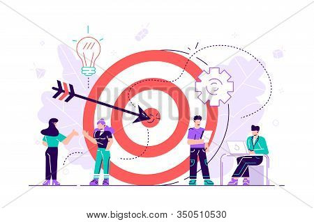 Businessmen Working And Woman At Big Target With Arrow. Goals And Objectives, Business Grow And Plan