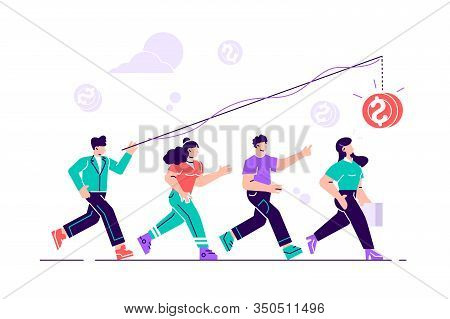 Vector Illustration, The Pursuit Of Money, Career Growth To Success, Flat Color Icons, Business Anal