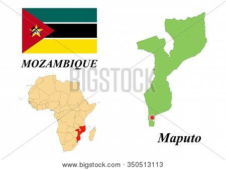 Republic Of Mozambique. Capital Of Maputo. Flag Of Mozambique. Map Of The Continent Of Africa With C