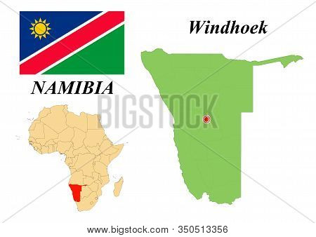 Republic Of Namibia. Capital Of Windhoek. Flag Of Namibia. Map Of The Continent Of Africa With Count