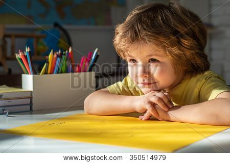 Cute Face Of Pupil, Close Up. Elementary School Classroom. Child Home Studying And Home Education. S