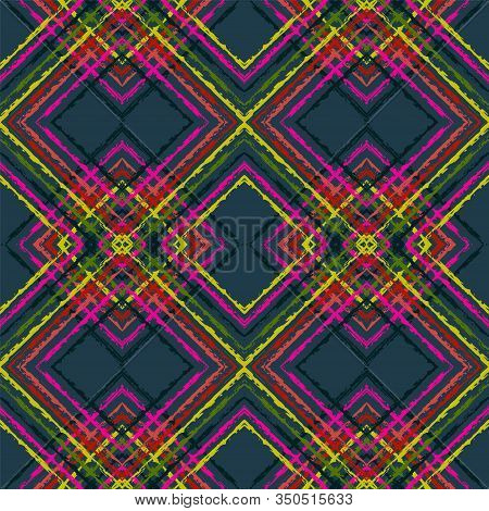 Indigo Drawn Tribal Vector Seamless Pattern. Ogee Chevron Uzbek Texture. Uzbek Retro Background. Ind