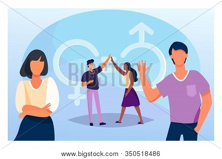 Man And Woman Giving High Five. Male And Female Characters With Gender Symbols And Equal Marks. Vect