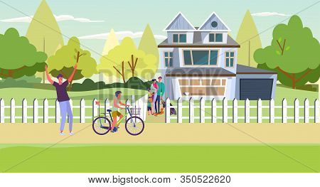 Suburban People Spending Weekend With Family. Country House, Parents, Kids, Riding Bike Flat Vector