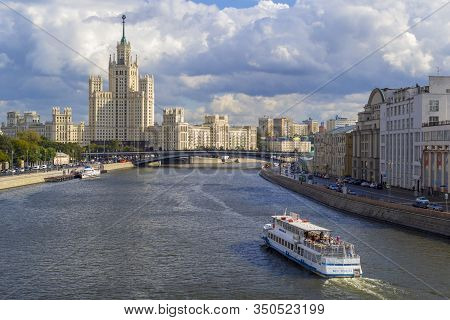 Moscow, Russia - June 03, 2019. Cityscape With Moscow-river And Famous Stalins Skyscraper On Kotelni