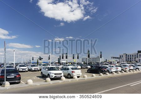 Simferopol, Crimea, Russia-september 13, 2019: Large Car Parking Near Aivazovsky Simferopol Airport