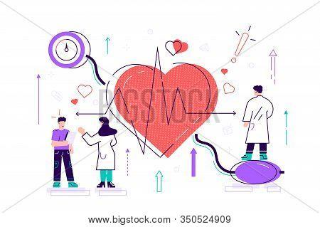 High Blood Pressure Vector Illustration. Flat Tiny Heart Disease Persons Concept. Medical Examinatio