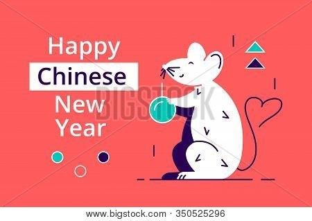 Happy New Year With Cute White Mouse And Fortune Calligraphy Written In Chinese Words On Spring Coup