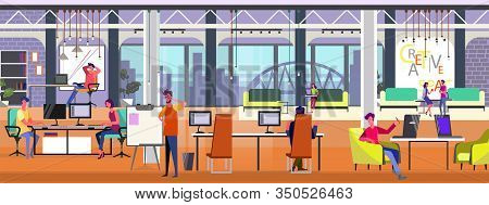 Professionals Working On Projects In Modern Office. Creative Open Space, Loft, Co-working, Team Flat