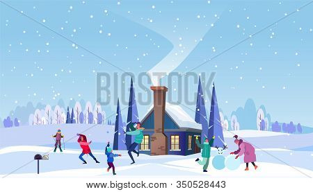 Family Enjoying Winter In Country. Parents, Children Playing Snowball, Making Snowman Flat Vector Il