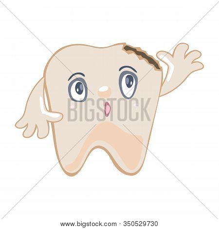 Worried, Anxious Darkened Tooth Damaged By Caries, Decay, Cavity Pulling Up His Hand And Asking To B