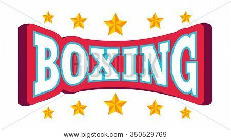 Vector Vintage Emblem For Boxing With Crown. Vector Logo With Crown And Stars For Boxing.