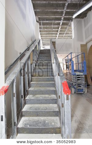 Steel Staircase Construction In Commercial Space