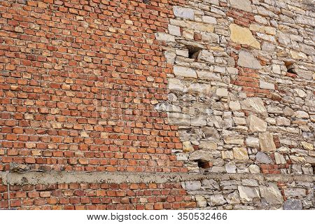 Cracked Red Brick Grunge Wall Of Old House Background