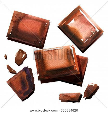 Chocolate Pieces, Broken Or Cracked Part Of Chocolate, Sweet Cocoa Dessert, Top View, Close Up, Isol