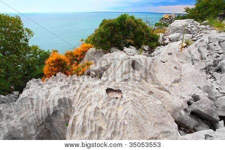 Trieste, Italy. Nature sanctuary The Rilke path, an extremely suggestive walk that starts from the Bay of Sistiana and runs along the coast on cliffs over the Adriatic sea to Duino Castle.
