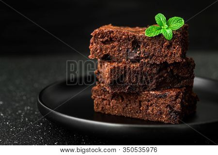 Dark Chocolate And Cocoa Brownie Fudge Cakes Dessert.