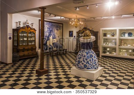 Delft, The Netherlands, Holland,january 18, 2020: Pottery Masterpieces Handmade Painting Porcelain A