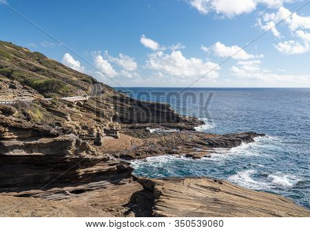 View From Halona Blowhole Along The Eroded Coastline On The East Coast Of Oahu