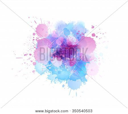 Multicolored Splash Watercolor Paint Blot - Template For Your Designs. Pink And Blue Colored