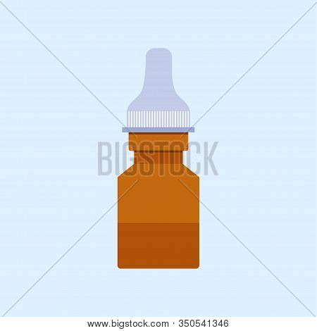 Medical Nasal Drops In Flat Style Isolated On Blue Background. Storage Tank. Vector Stock Illustrati