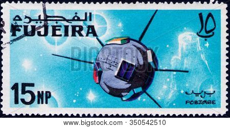 Saint Petersburg, Russia - February 06, 2020: Postage Stamp Issued In The Fujairah With The Image Of