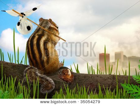 funny chipmunk emigrant environment and ecology concept poster