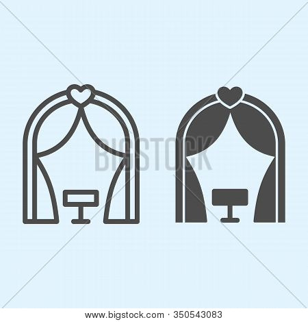Ark Line And Solid Icon. Romantic Ceremony Altar Place. Wedding Asset Vector Design Concept, Outline