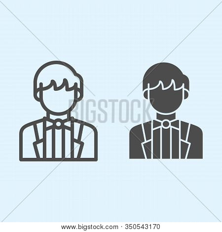 Groom Line And Solid Icon. Newly Married Man In Black Jacket. Wedding Asset Vector Design Concept, O