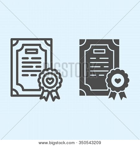Prenuptial Agreement Line And Solid Icon. Certificate, Marriage Contract. Wedding Asset Vector Desig