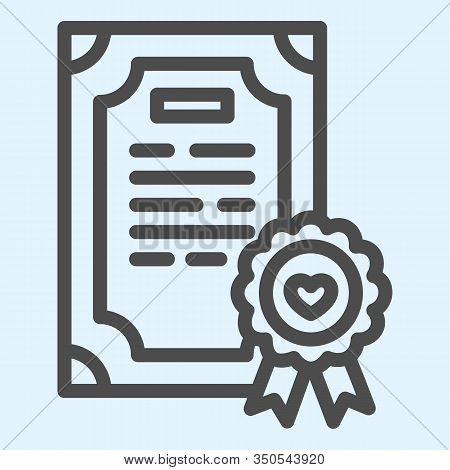 Prenuptial Agreement Line Icon. Certificate, Marriage Contract. Wedding Asset Vector Design Concept,