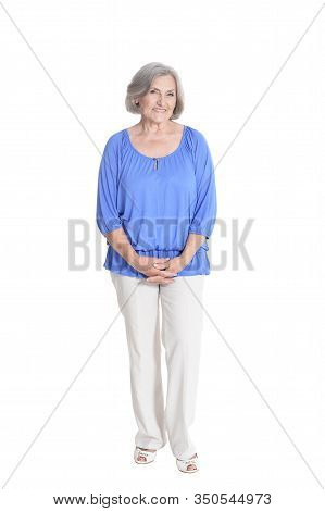 Portrait Of Sad Beautiful Senior Woman Posing Isolated