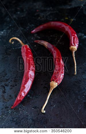 Healthy Nutritious Dry And Spicy Red Peepers For A Seasoning And Flavouring On Salad And Food.