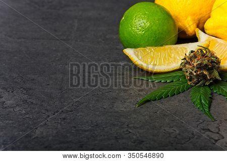 Cannabis Bud And Leaf With Lemon