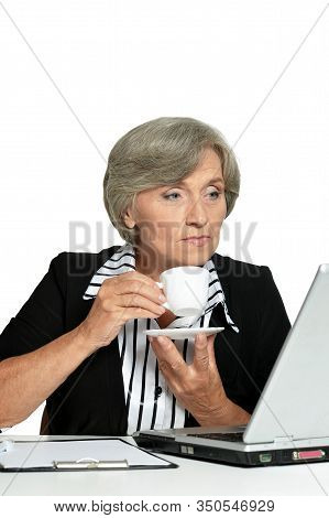 Elderly Woman Working With Laptop On White Background