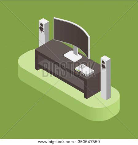 Home Theatre, Audio System And Smart House Concept Isolated On Green Background. Smart Tv, Audio Spe