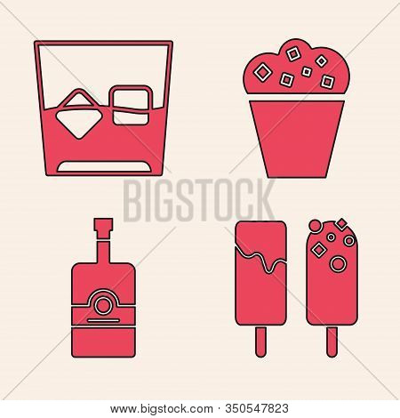 Set Ice Cream , Glass Of Whiskey And Ice Cubes , Popcorn In Cardboard Box And Whiskey Bottle Icon. V