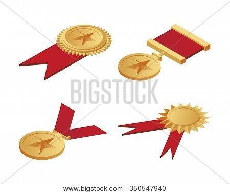 Gold Medals With Stars On Them And Red Ribbons Isometric Illustration Isolated On A White Background