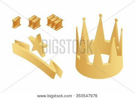 Golden Trophy, Crown, First, Second And Third Place Numbers, Gold Star And Ribbon Isometric Vector I