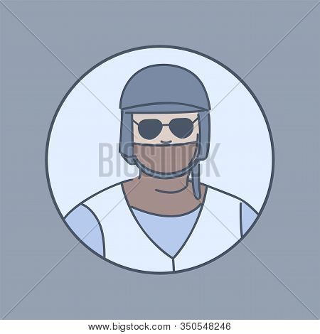 Policeman In A Mask In Round Shaped Frame Cartoon Illustration. Security Guard, Capture Group Member