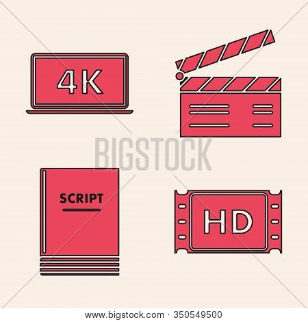 Set 4k Movie, Tape, Frame , Laptop Screen With 4k Video Technology , Movie Clapper And Scenario Icon
