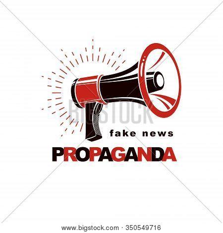 Loudspeaker Vector Logo Isolated On White. Misleading And Brainwashing Information, Fake News Concep
