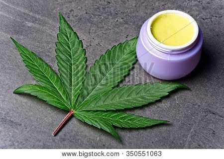 Cannabis Homemade Ointment And Leaf